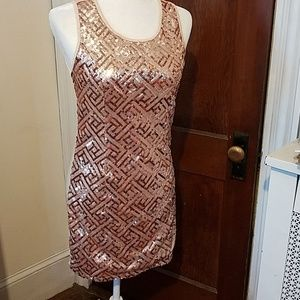 YA LOS ANGELES sequin rose gold party dress